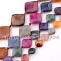 "Agate Multicolor Square Cracked Faceted Gem Stone Beads Strand 15"" 12,14,18,25mm For DIY Necklace Jewelry Making,Free Shipping"