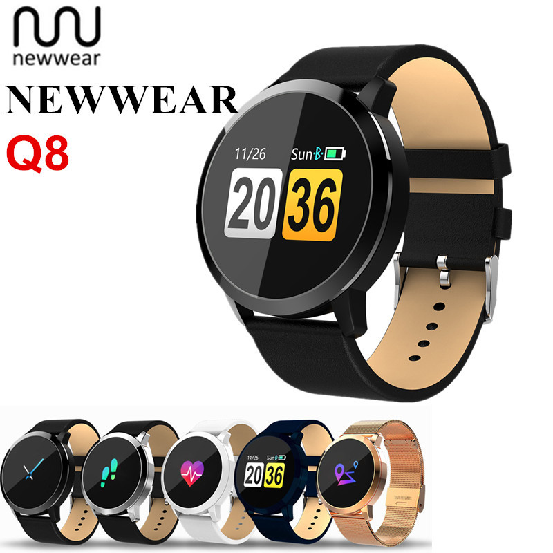 Newwear Q8 Android Smartwatch Bluetooth Waterproof Sport Fitness Tracker Wearable Smart Watch Heart Rate Monitor For Men Women