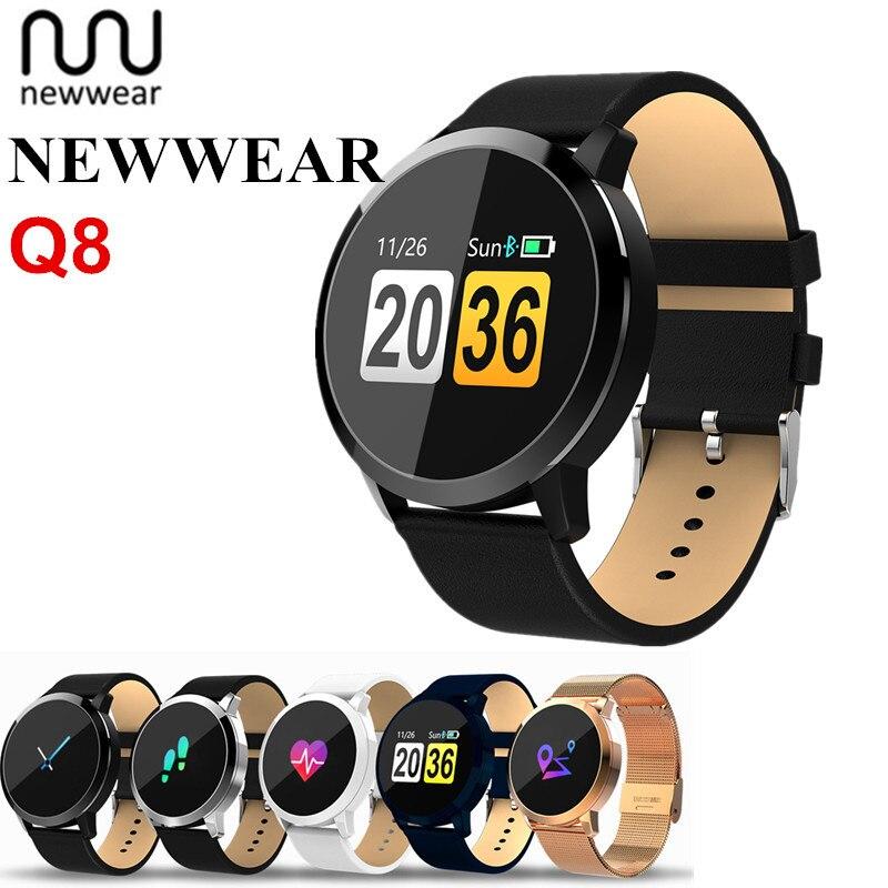 Newwear Q8 Astuto Della Vigilanza Uomini Donne Touch Screen IP67 Impermeabile di Sport di Frequenza Cardiaca Fitness Tracker Braccialetto Intelligente Per IOS Android