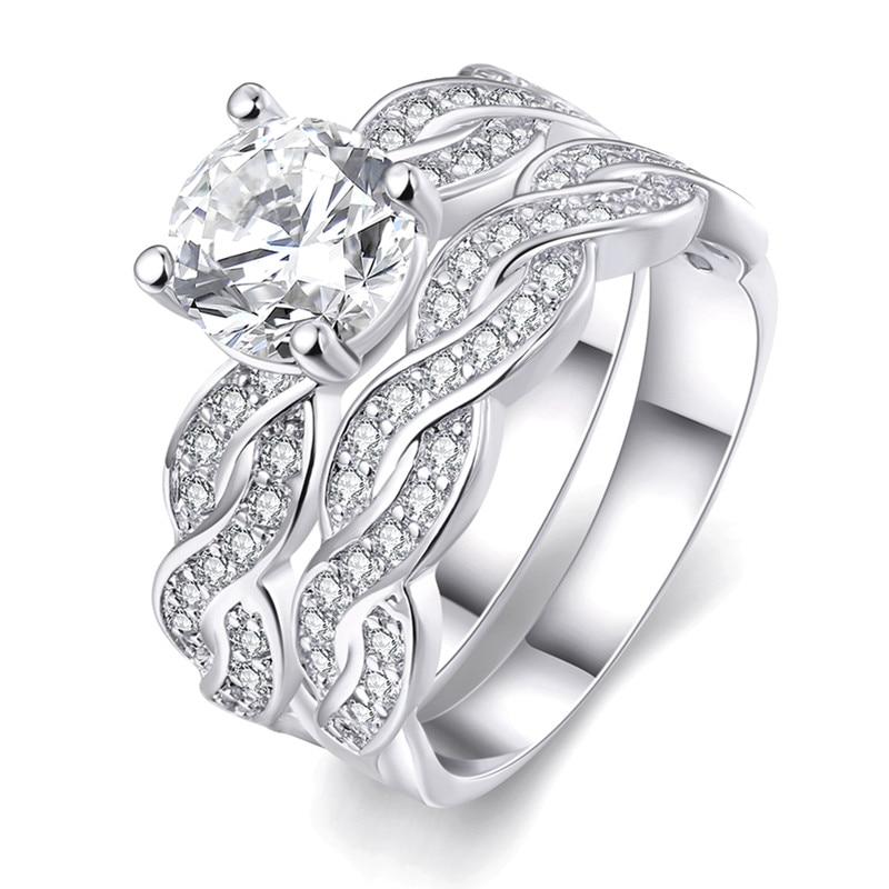 women wedding rings set white gold filled aaa cubic zirconia engagement rings bridal set wedding bands