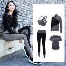 Купить с кэшбэком 2018 New 4 Piece Sport Suit Women Yoga Set Fitness Hoodies Tights Plus Size Jogging Breathable Exercise Sports Bras Gym Clothing