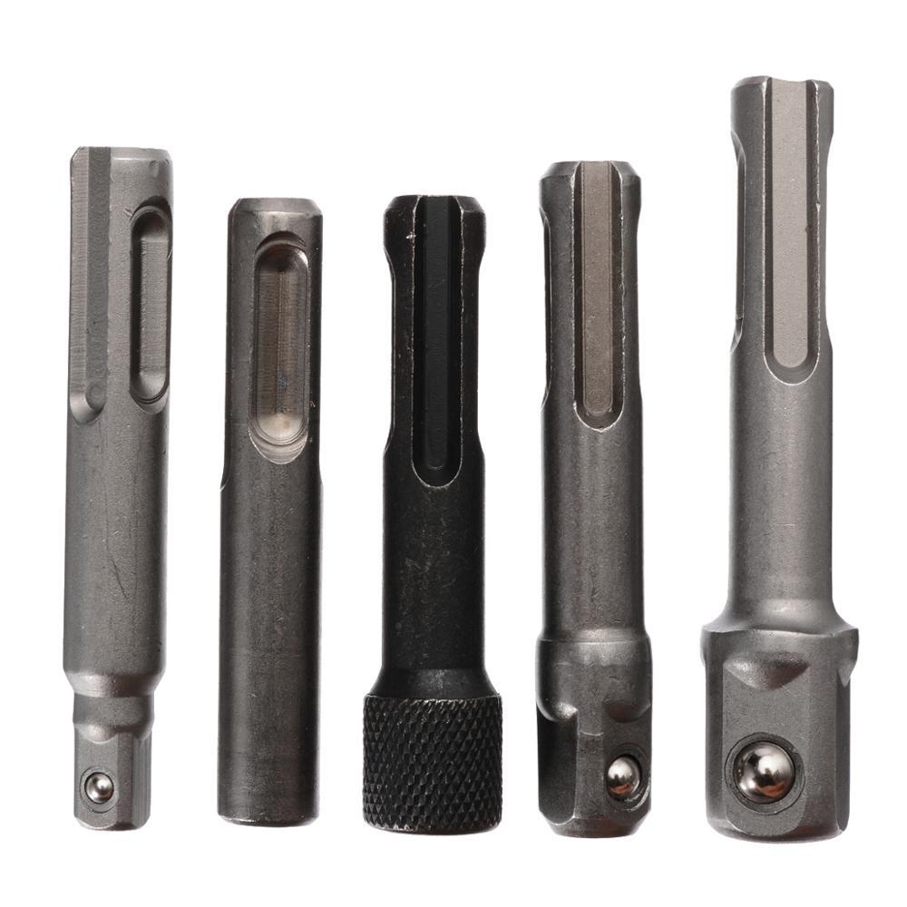 5pcs Hex Socket Driver 1/4'' 3/8'' 1/2'' Drill Bit Adaptor SDS Screwdriver Bit Socket Nut Impact Driver Set Hammer Drill Tool