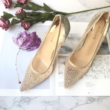 hot deal buy high heels women pointed toe heels crystal bling fashion silver shoes high heels pumps 12cm transparent party wedding shoes