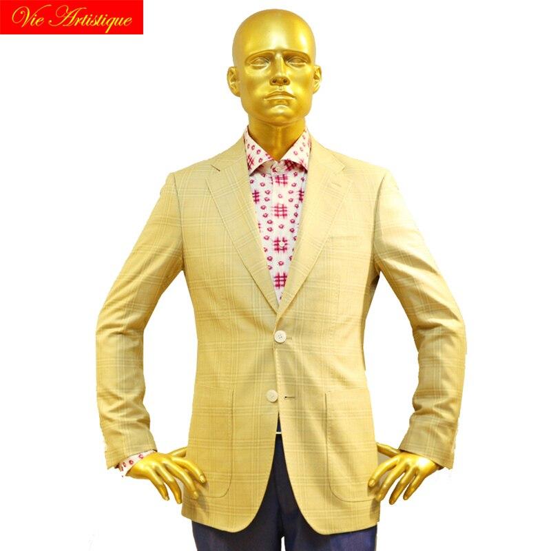 Custom Tailor Made Men's Bespoke Suits Business Formal Wedding Ware Bespoke Jacket Coat Fine Wool Slim Fit Beige Window Plaid