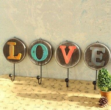4pcslot vintage style love letter cloth hook coat hanger rural style