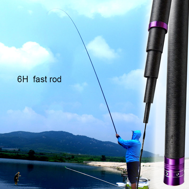 Telescopic Taiwan Fishing Rod 6H Super Hard Carbon Fiber Rod 2.7m-7.2m Long Section Hand Pole Fishing Rod Handing Rod