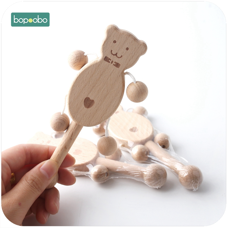 Bopoobo 1PC Baby Gift Wood Bear Rattle Teething Wooden Beads Can Chew Toy Play Gym Montessori Toys Baby Rattles Original Teether