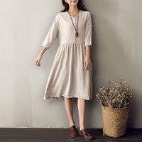 Solid O Neck Half Sleeve Women Knee Length Dress Linen Vintage Casual Summer Dress Beige Original