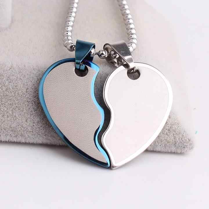 free shipping blue black Lovers wave hearts  316L Stainless Steel pendant necklaces for men women wholesale