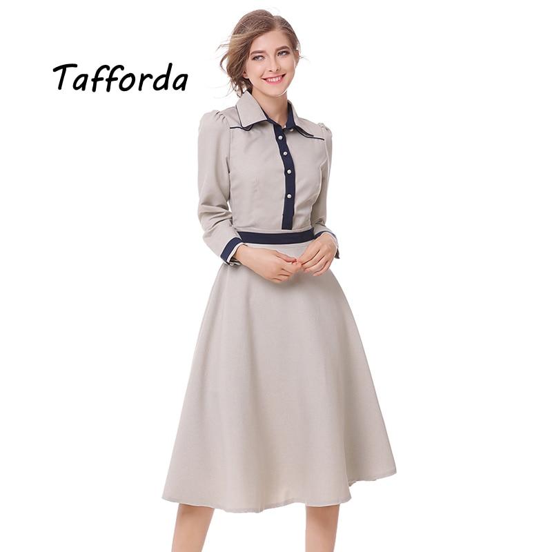 Tafforda Autumn New Retro School Fashion Twill Elegant Dress Women Elegant Turn Down Collar Long Sleeve