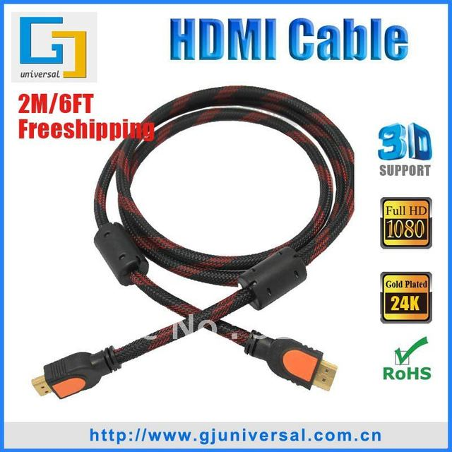 Free Shipping 2M 6FT HDMI Cable with High Speed,1.4V HDMI  Male to Male Cable, 3D Ethernet 1080P 4K*2K HDMI 1.4V Cable