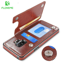 FLOVEME Retro   Leather     Case   For Samsung Galaxy S8 S9 Plus Card Stand PU Wallet   Case   For Samsung S9 S7 Edge Note 8 Bag Cover Coque
