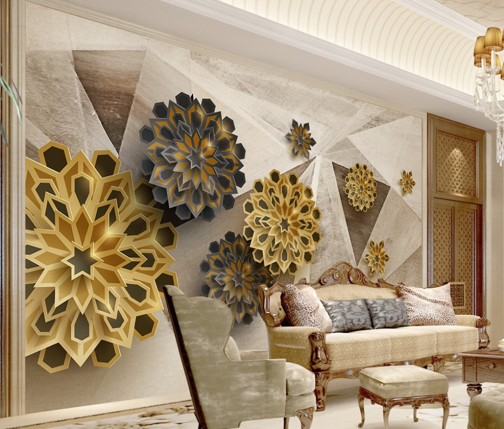 Free Shipping Custom 3D Fashion Polygon Retro Abstract TV Backdrop Wallpaper Gold Color Living Room Bedroom Mural Flower Pattern book knowledge power channel creative 3d large mural wallpaper 3d bedroom living room tv backdrop painting wallpaper