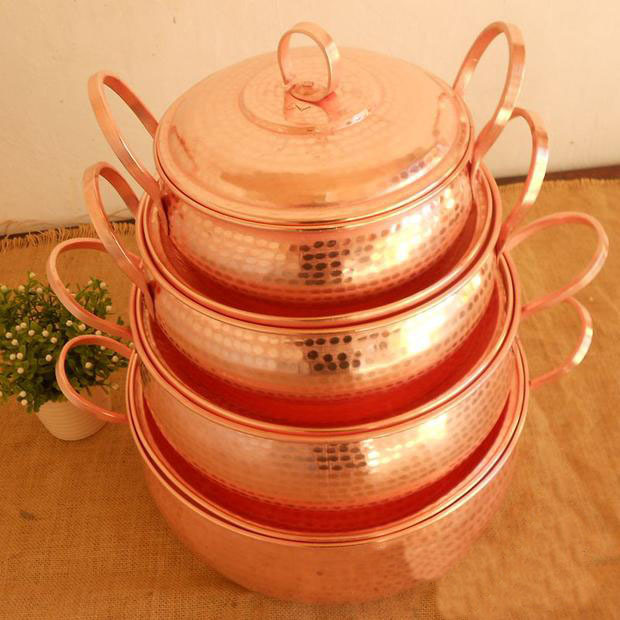 Pure Copper Pot Stew Steam Soup Purple Deep Casserole
