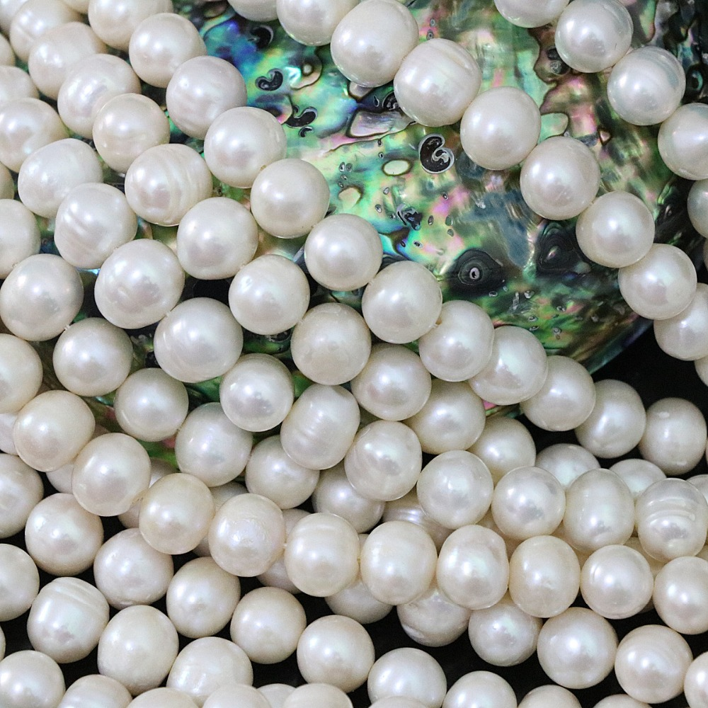 High grade white natural freshwater cultured round pearl 9-10mm charms diy women jewelry making loose beads 15inch B1395