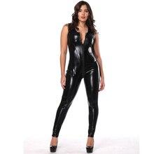 Dream Vine Wetlook Vinyl Leather Sleeveless Jumpsuit Back Lace Up Elastic Black PU Full Bodysuit Playsuit Sexy Nightclub Costume