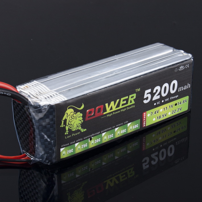 1pcs Lion Power Lipo font b Battery b font 4S 14 8v 5200mah 30c T Plug
