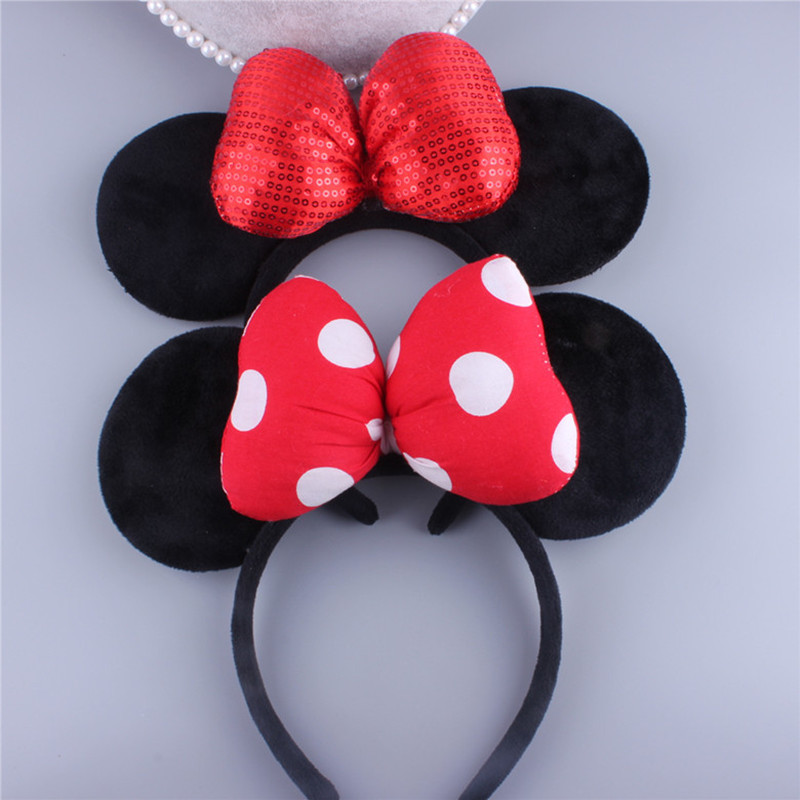 1 PC Lovely Minnie mouse ears red hair band Adult children very well Tourism travel Big bowknot fluffy headdress
