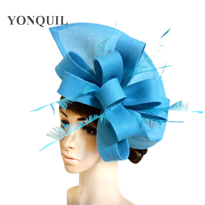 Sea Blue Ladies Wedding Hair Fascinator Hat With Fancy Feather On Head Band For Women Party Race Headwear 2019 New Arrival SYF66