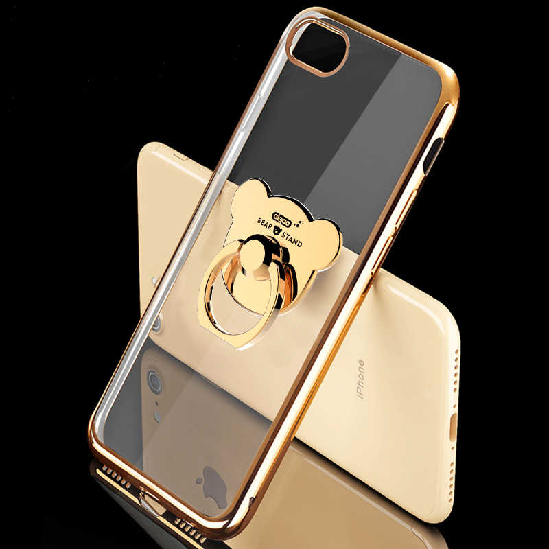 Cute Plating Soft Silicone Case for Samsung Galaxy A70 A50 A30 A20 M20 J4 J6 Plus 2018 S9 S10 Plus Case with Bear Ring Holder
