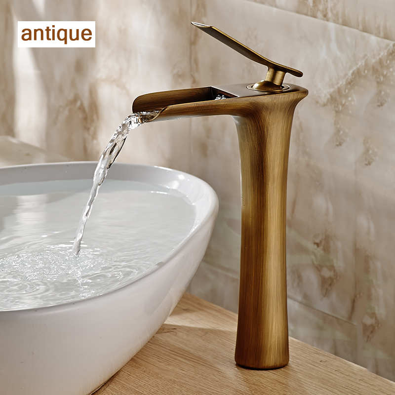 Basin Faucets Modern White Bathroom Faucet Waterfall faucets Single Hole Cold and Hot Water Tap Basin Faucet Mixer Taps 6008 in Basin Faucets from Home Improvement