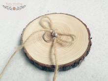 Wooden Ring Bearer Pillow Alternative, Wood Wedding Ring Holder,Ring Pillow,Natural Rustic Wedding Wood Slice Ring Bearer Pillow