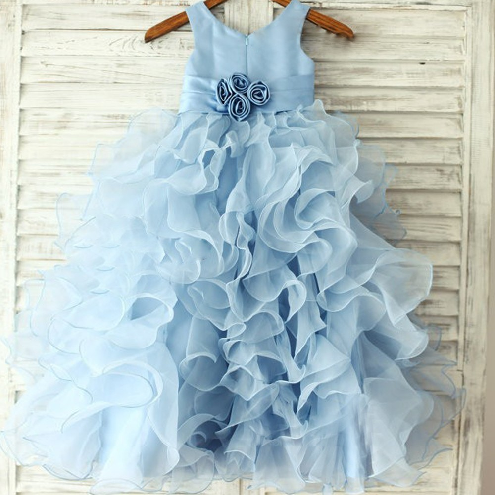 Blue Flower Girl Dresses Real Party Pageant Communion Dress Little Girls Kids/Children Dress for Tulle Mother Daughter Dresses купить