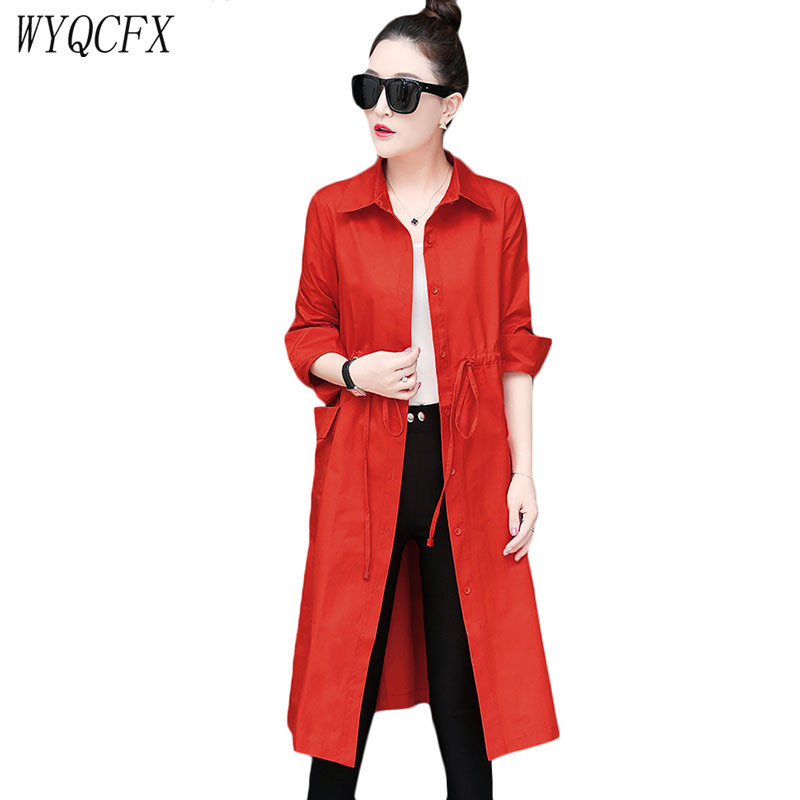2019 long   Trench   Coat for Women korean Thin Spring Autumn Adjustable waist Windbreaker Ladies solid color Casual Loose Overcoat
