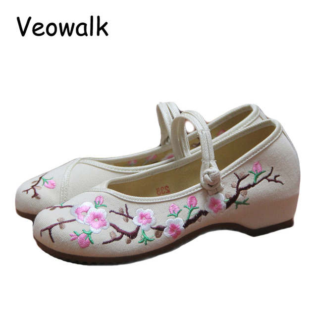60efbe8981e97 Veowalk Plum Flowers Embroidered Women's Canvas Ballets Flats Low Top  Comfortable Fabric Casual Mary Janes Shoes for Ladies
