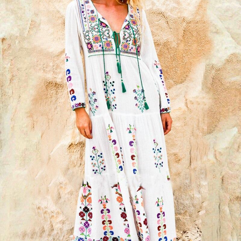 cotton floral embroidered maxi dress o-neck tassel long Sleeve white Summer dresses Vintage boho chic women dress brand clothing Платье