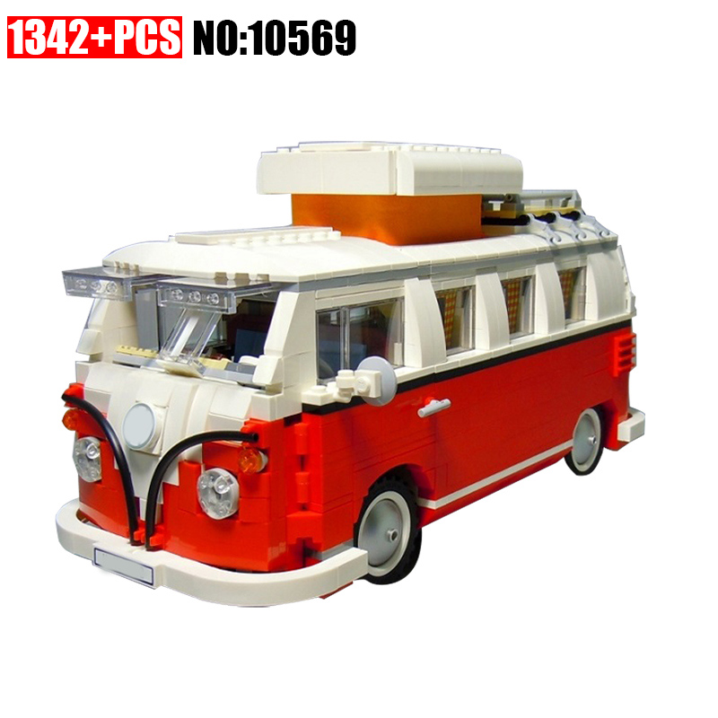 10569 1342pcs Technic T1 Camper Van Car Racers Building Block DIY Educational Toys for Children Compatible 10220 Brick Toy lepin 21001 creator volkswagen t1 camper van building block compatible legoe 1352pcs educational toys for children