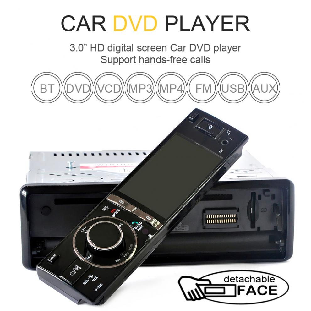 3 Single 1 Din Car DVD Player Radio Stereo Detachable Panel Video Bluetooth Subwoofer AUX Camera In CD MP5 Audio цена