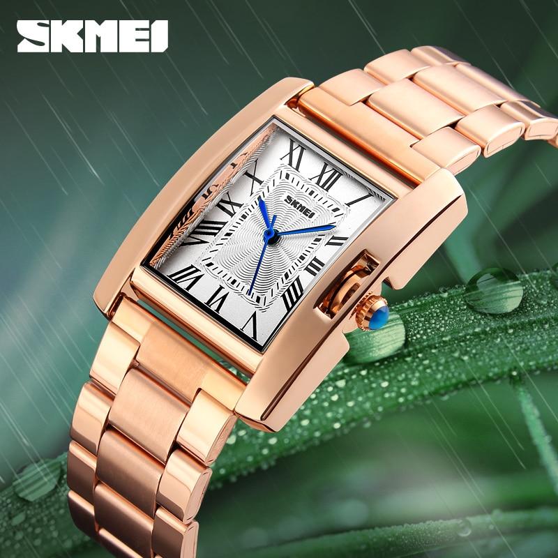 купить 2018 SKMEI New Luxury Women Watches Fashion Rose Gold Ladies Wristwatches Stainless Steel Waterproof Quartz Watch Montre Femme по цене 792.85 рублей
