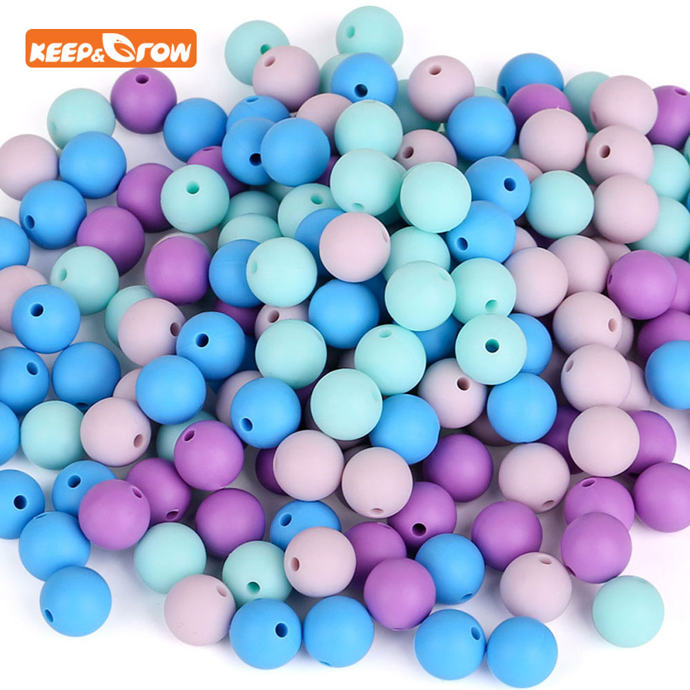 Keep&grow 100Pcs Round Silicone Beads 12mm Baby Teether Silicone Bead For DIY Necklace Pacifier Chain Silicone Bijtring Bead