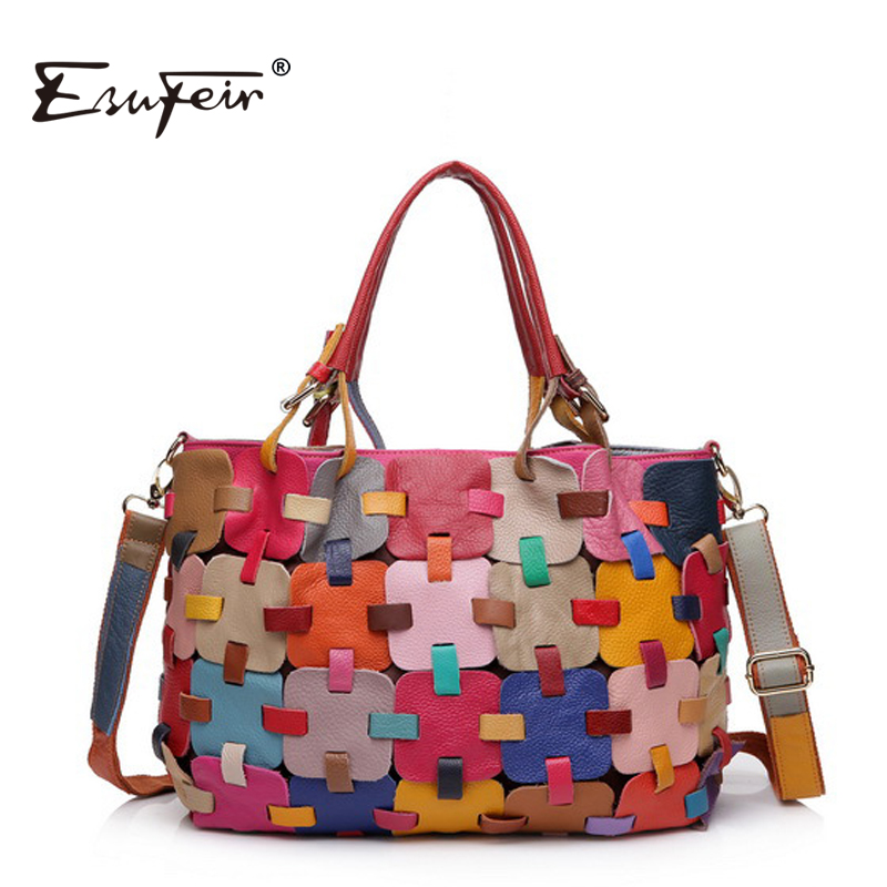 ФОТО ESUFEIR 2017 100% Genuine Leather Women handbag Cow Leather Multi Shoulder Bag Casual Colourful Patchwork Women Bag Tote KJ055