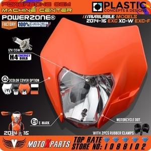 Image 4 - Powerzone Headlight Headlamp For KTM SX F EXC XCF SMR 2014 15 16 Motorcycle Dirt Bike MX Enduro Supermoto With H4 Bulb