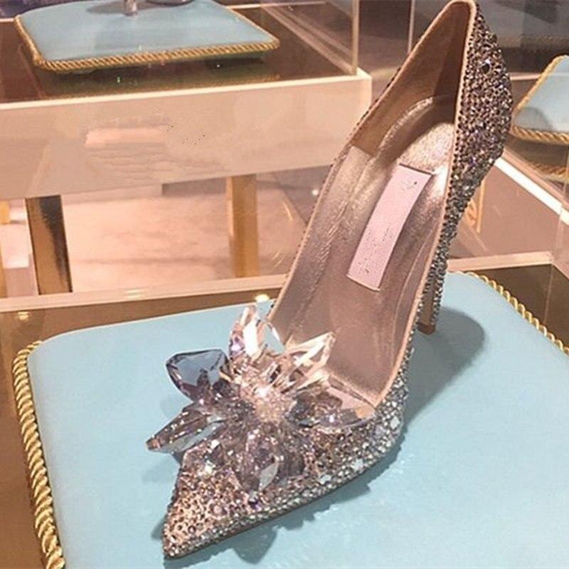 Cinderella Glass Slipper Interpretation Women Pumps Pointed Toe Crystal Covered Rhinestone Sequins High Heel Wedding Shoes Woman