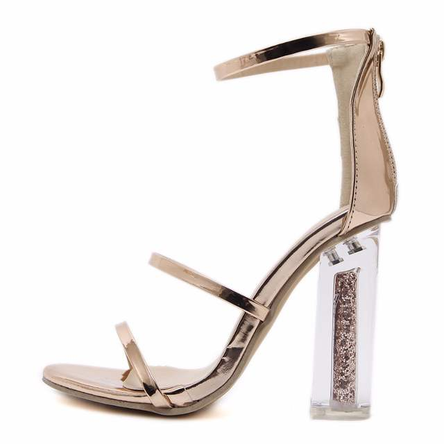 9a16f148028 DiJiGirls Latest Women Open Toe Strappy Ankle Strap Gold Sandals Crystal  Transparent Clear Block Thick High Heel Sequined Shoes