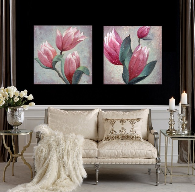 Magnolia Flower Paintings For Living Room Wall Pink Flower Pictures