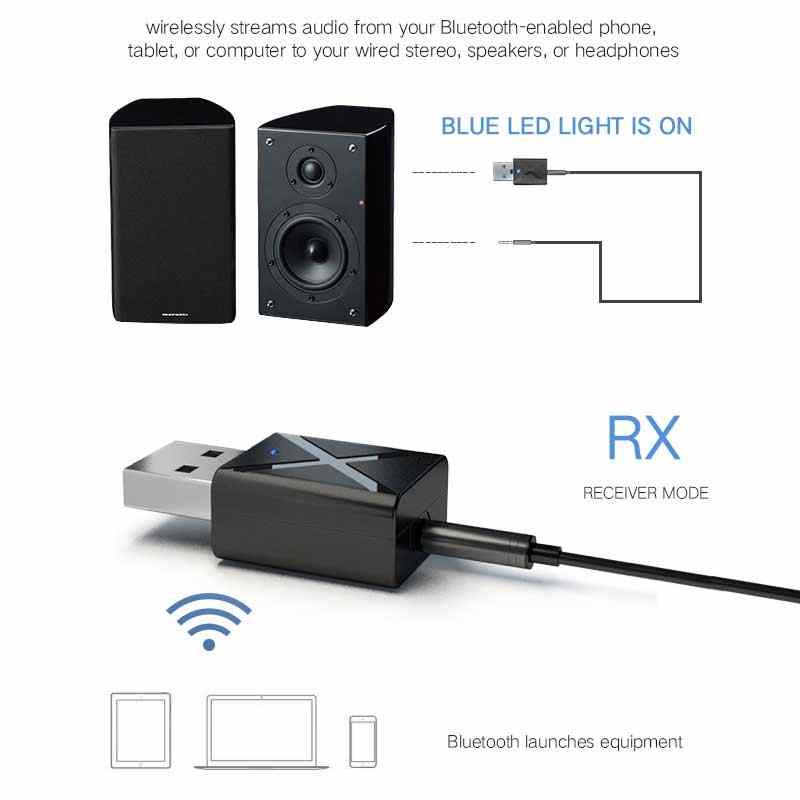 Bluetooth Receiver 2 in 1 Car Bluetooth 5.0 Adapter Wireless Transmitter Stereo MP3 Music AUX Audio For PC TV Speaker Headphone