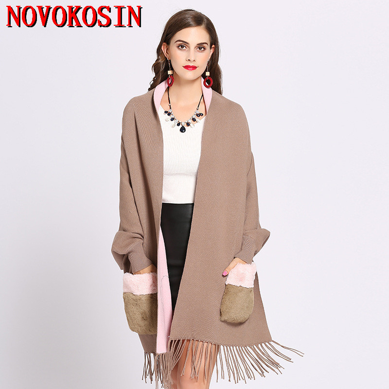 2018 Winter Faux Cashmere Poncho Women Long Sleeves Wrap Vintage Shawl With Fur Pocket Female Oversize Tassel Knitted Scarf