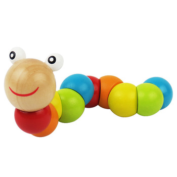 Colorful Wooden Twist Worm Puzzles Caterpillar Kids Educational Toys Baby Montessori Finger Toys