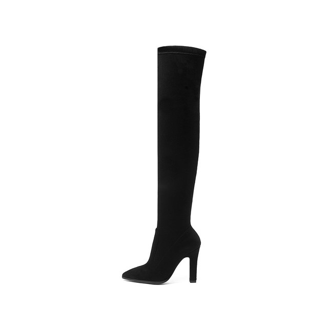 QUTAA 2019 Women Over The Knee High Boots Slip on Winter Shoes Thin High Heel Pointed Toe All Match Women Boots Size 34-43 1