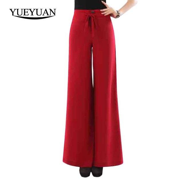 8b3383e4c3971 Womens Wide Leg Pants For Summer Thin Casual Stretch Trousers For Big Legs  Hips Ladies Straight Loose High Waist Pants Plus Size