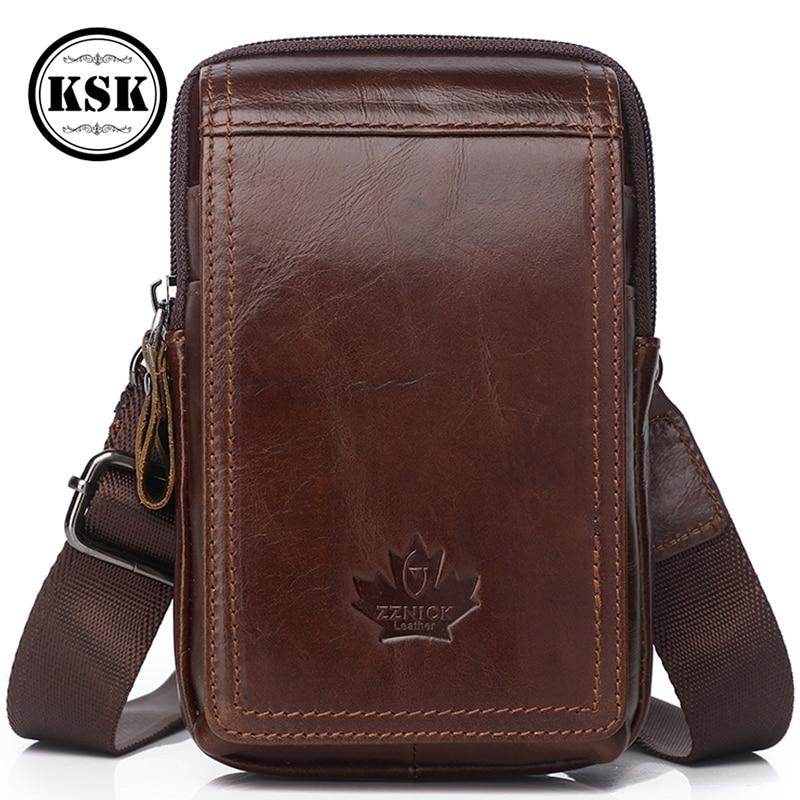 Men Genuine Leather Bag Small Shoulder Bag For Men 2019 New Fashion Vintage Flap Pocket Leather Shoulder Crossbody Bags Hasp KSK