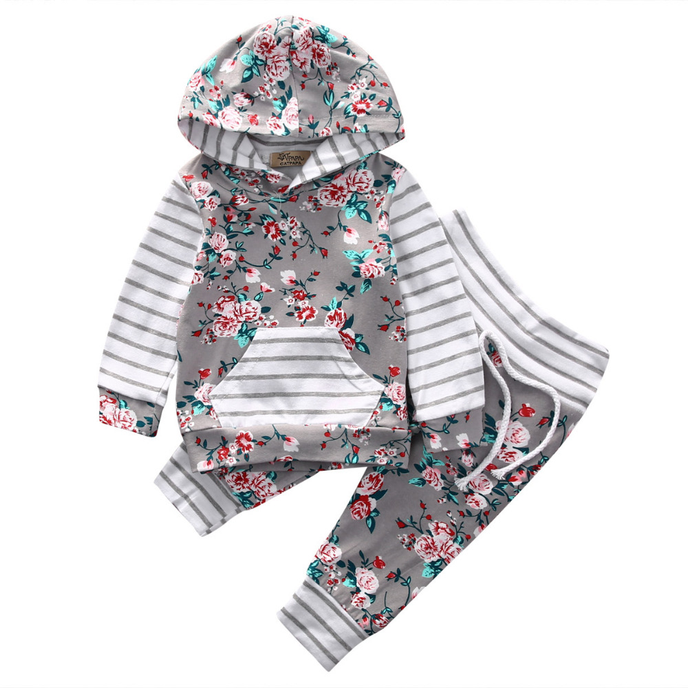 Baby Girls Floral Stripe Clothes Hooded Tops Coat Pants Coming Home Outfits 2Pcs Set infantil toddler newborn baby girls boy unisex hoodie coat tops floral pants 2pcs outfits set clothes