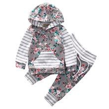 Floral Hooded Tops Coat Pants 2Pcs Set