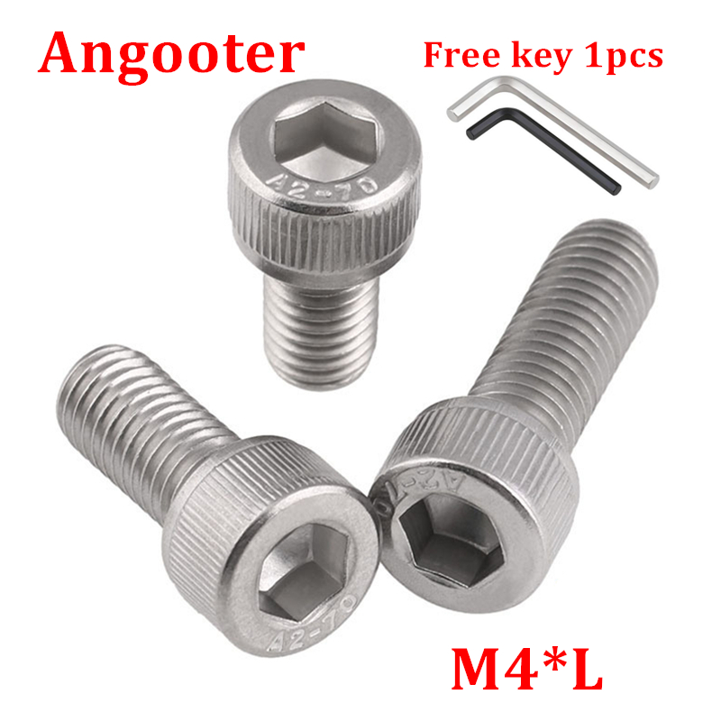 100pcs DIN912 <font><b>M4</b></font> Hexagon Socket Head Cap Screw Bolts 304 stainless steel Hex allen socket screw <font><b>m4</b></font>*6/8/10/12/14/16/18/20/25/<font><b>30</b></font> image