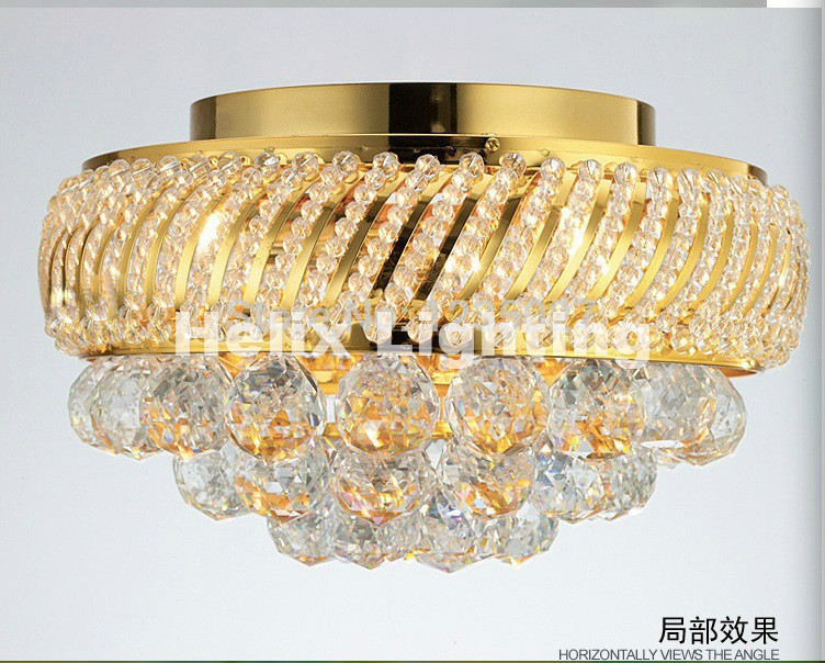 цены D350mm K9 Crystal Ceiling Light Fixture Gold Ceiling Light Lighting Lamp Flush Mount Guaranteed 100% AC LED Ceiling Lighting