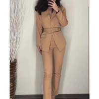 Women's suit 2019 fashion elegant office lady work wear blazers jackets with belt & Trousers 2 Piece Sets New Pants suit women